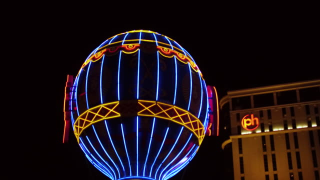 Steady camera shot panning across the sunset strip Las Vegas Nevada