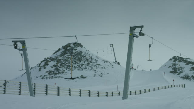 Steady shot of a not working ski lift in the Alps in Tyrol.