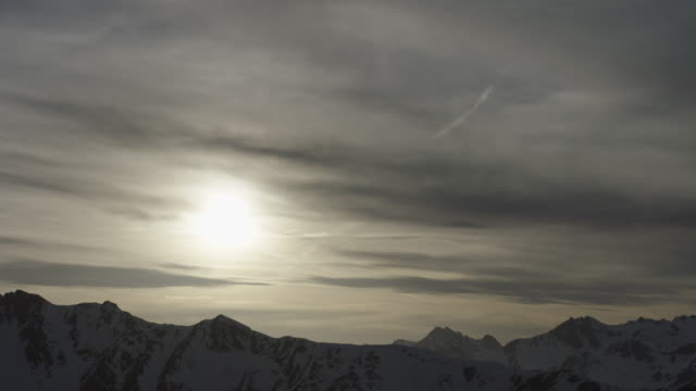 Steady shot of an idyllic landscape at sunset in the Alps in Tyrol, Austria.