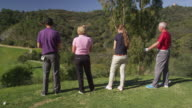TS MS (steadycam) four golfers (young and mature couples) standing on tee looking out over fairway ahead, RED R3D 4K