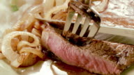 ECU steak knife cuts a slice from cooked sirloin steak as fork lifts slice from sirloin steak served on a plate with mashed potatoes and onions