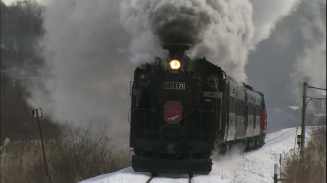 A steam locomotive pulls passenger cars along a snow cover rail bed.