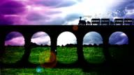 steam train runs on a railway bridge before the storm