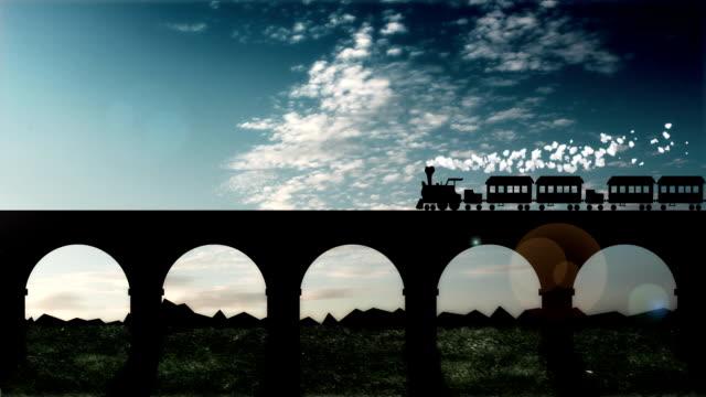 steam Zug fährt auf einer Eisenbahnbrücke