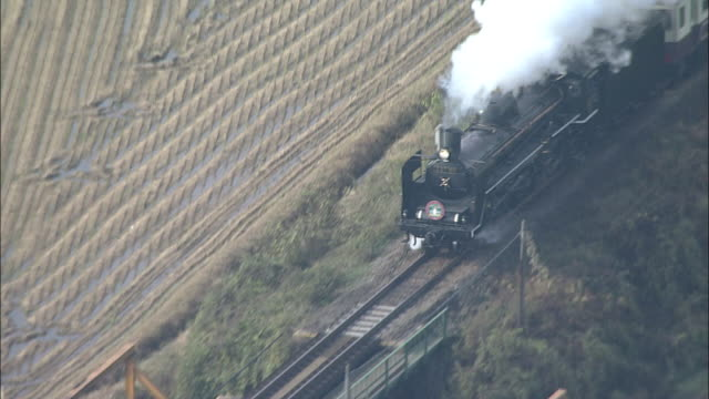Steam train travels on old Furusato Ginga line