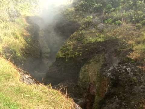 MS steam venting from ground, Hawaii Volcanoes National Park, The Big Island, Hawaii, USA