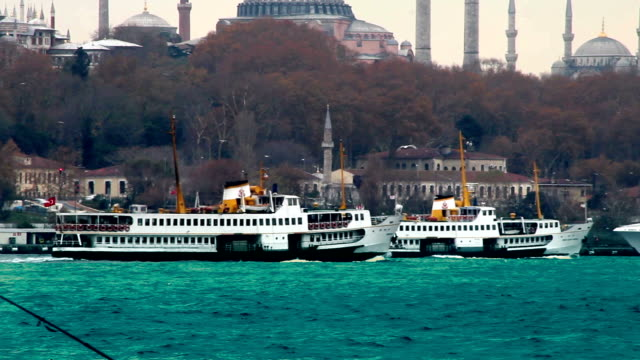 Steamboats with Hagia Sophia Background