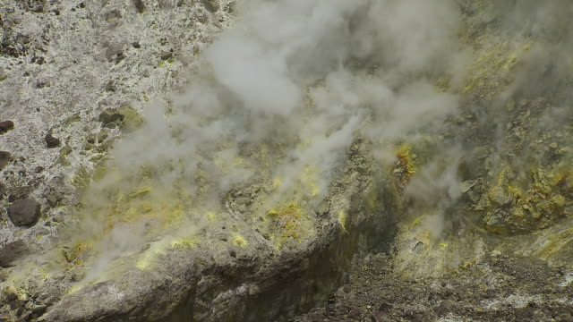 Steaming Sulfur Vent On Volcano
