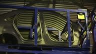 Steel body panels for VW Polo automobiles sit in storage racks at the GestampSeverstalKaluga OOO plant in Kaluga Russia on Tuesday Sept 19 2017