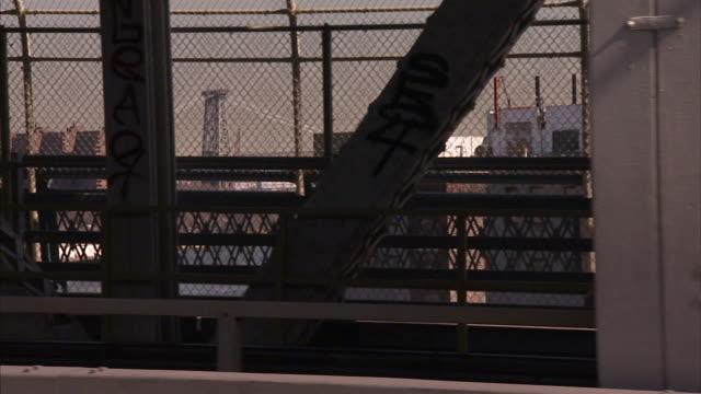 Steel girders line a bridge in New York City.