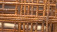 Steel rods rusty, pan shot 4k