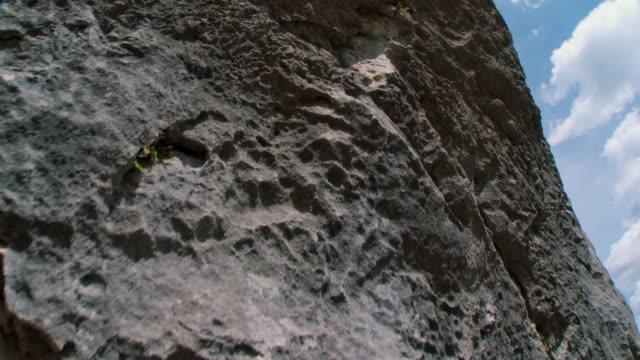 WS POV Steep rock at sports climbing site in Alpine Slovenia / Bohinj, Triglav National Park Slovenia