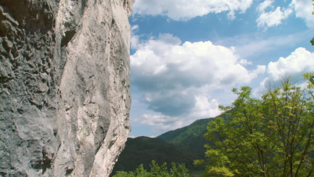 WS TU Steep rock at sports climbing site in Alpine Slovenia / Bohinj, Triglav National Park Slovenia