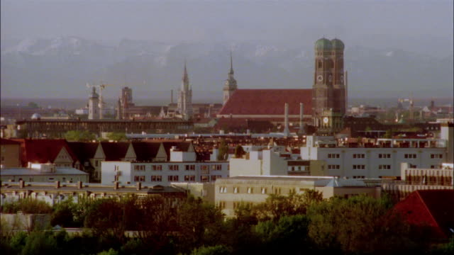 Steeples dot the cityscape of Munich, Germany.