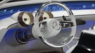 A steering wheel sits inside a MercedesBenz Maybach Vision 6 luxury automobile during the first media preview day of the IAA Frankfurt Motor Show in...