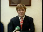 Stephen Fry speaks out ITN SCOTLAND Dundee University MS Stephen Fry sits in front of Dundee University plaque with his name on Female journalist...