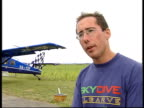 New video released ITN LA Parachutists landing at airfield where Hilder died TILT DOWN Skydiver landing Paul Hollow interviewed SOT People are being...