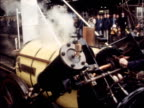 Stephenson's Rocket train arrives at St Pancras station ENGLAND London EXT Driver on engine into Station