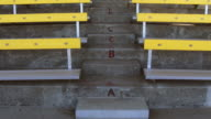 Steps and empty bleachers in a stadium