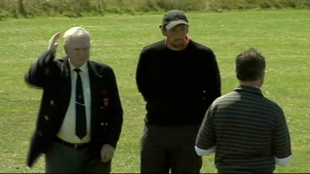 Northumberland EXT Steve Harmison practises golf shots on driving range