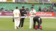 Steve Harmison practising golf and interview Unidentified cricketers on pitch as interview overlaid