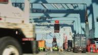 Stevedores Loading Cargo Ship at Port of Long Beach