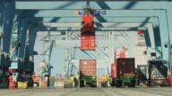 Stevedores Working at Port of Long Beach