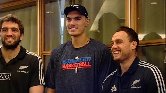 Steven Adams meeting with New Zealand All Blacks rugby players Daniel Carter Israel Dagg Aaron Smith and Sam Whitelock at promotional event in 2013...
