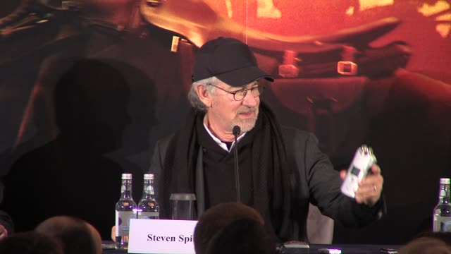 Steven Spielberg and Kathleen Kennedy at the War Horse Press Conference Part One at Claridge's Hotel London UK on 9th January 2012