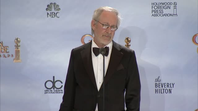Steven Spielberg on how he can't pic favorites from his movies at 69th Annual Golden Globe Awards Press Room on 1/15/2012 in Beverly Hills CA