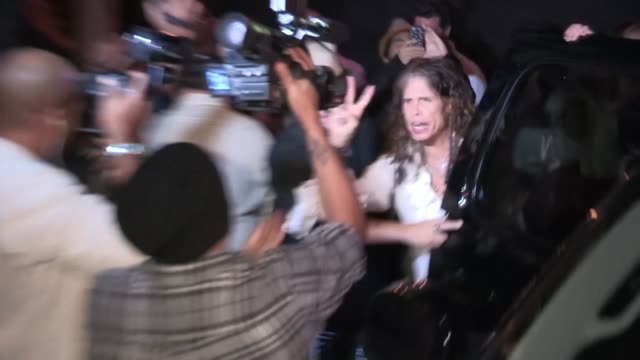 Steven Tyler greets Paparazzi while departing Aerosmith Concert After Party at Pink Taco in LA at Celebrity Sightings in Los Angeles Steven Tyler...