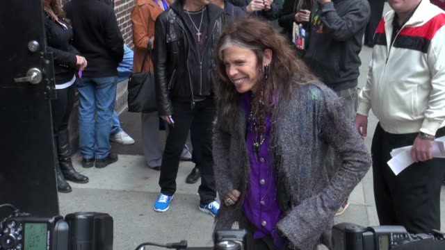 Steven Tyler of Aerosmith outside of the Late Show in New York NY on 11/01/12