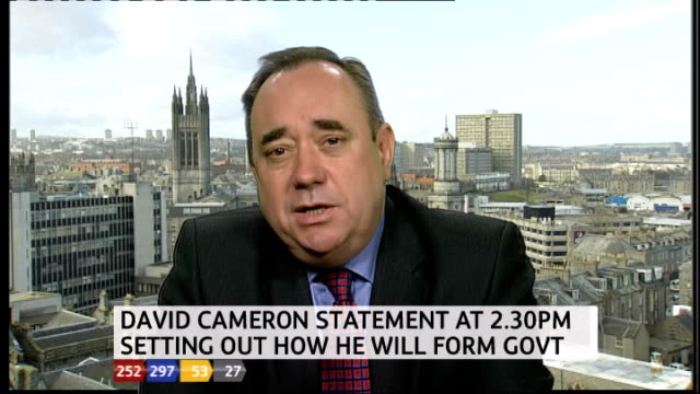 Alex Salmond MSP LIVE 2WAY interview on coalition possibilities SOT ENGLAND London GIR STUDIO Stewart Cowley Street EXT Richard Gaisford LIVE from...