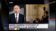 Stewart with SPLIT SCREEN view of Conservative press conference room