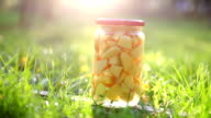 Stewed fruits in a jar