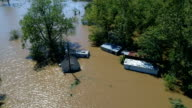 Hangen nog dicht bij huis onder water vloed Columubus, Texas kleine stad Gulf Coast schade zone van Orkaan Harvey Path of Destruction.