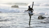 Stilt Fisherman in Weligama, Sri Lanka