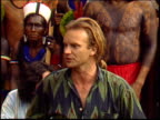 Sting gives a press conference speech in the Amazon in which he talks about raising money to set up a huge national park to protect the rainforest