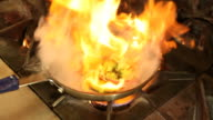 Stir Fry Cooking in Flaming Pan
