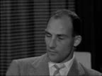 Stirling Moss interview ENGLAND London INT Stirling Moss 2SHOT and interview SOT On Fangio being reported to have said that he expected Moss to win...
