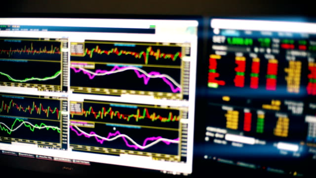 Stock market charts and summary market trading in LED display, Stock market data trading.