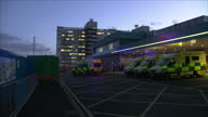 Stock shots ambulances arriving and departing from Aintree University Hospital and entrance to Accident and Emergency