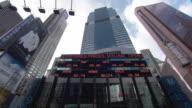 WS Stock ticker board on Morgan Stanley building / New York City, New York, USA