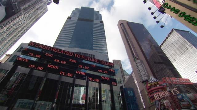 WS PAN Stock ticker board on Morgan Stanley building / New York City, New York, USA