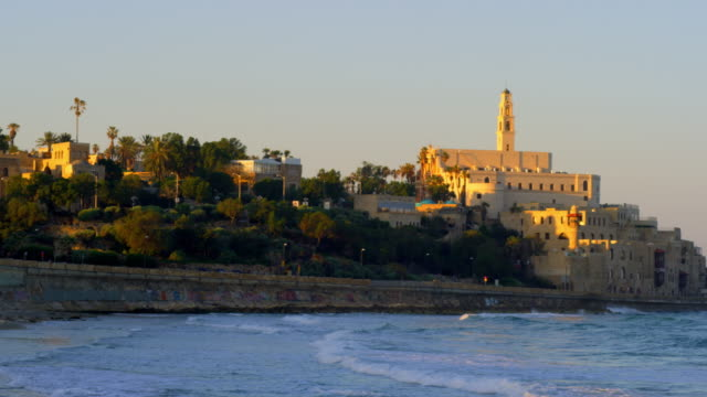 Stock Video Footage of the Mediterranean coast of Jaffa with St. Peter's Church shot in Israel at 4k with Red.