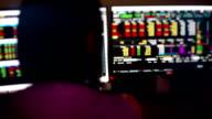 Stockbroker monitoring real stock market trading data.