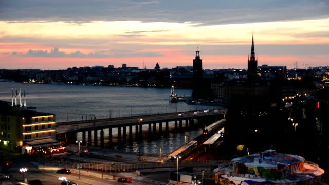 Stockholm City Traffic at Dusk