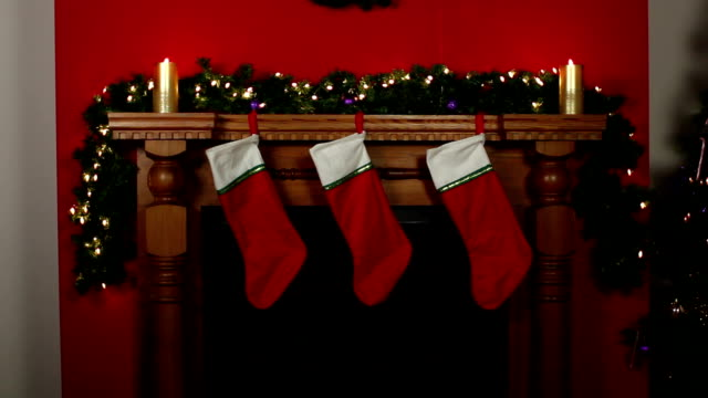 Stockings hung on Fireplace at Christmas - DOLLY