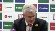 Stoke manager Mark Hughes post match press conference after his side lost 21 to league leaders Chelsea Stoke are 9th in the Premier League table