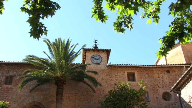 MS, LA, Stone building with clock and bells, Spain, Balearic Islands, Mallorca, Fornalutx